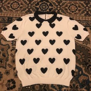 F21 Black Heart and Short Sleeve Collared Sweater